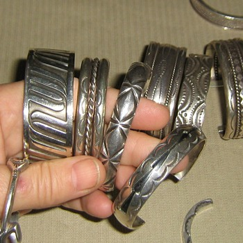 Sterling Native American stamped cuff bracelets - Fine Jewelry