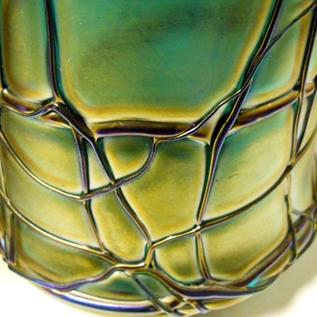 Art Nouveau, PALLME- KONÏG -- Agua Iridescent with Cobalt Blue Threading, Circa 1900 - Art Glass