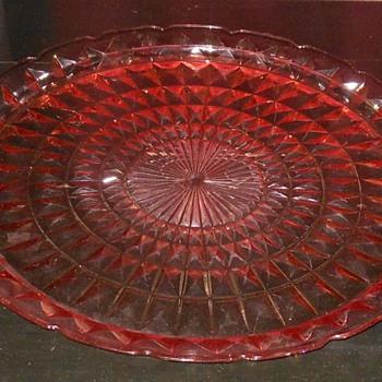 Depression Glass Jeannette Windsor Pattern Cake Platter - Glassware