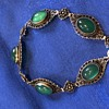 Gorgeous Antique (Edwardian?) Chrysoprase and silver filigree bracelet unmarked