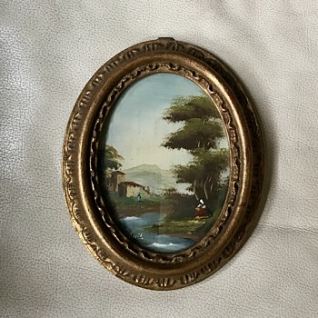 Small oval oil painting on board - Fine Art