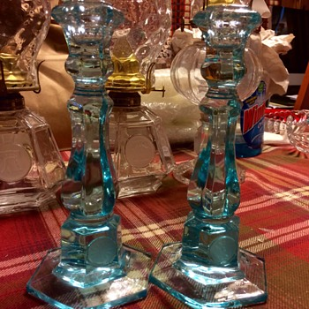 "Blue 8"" Candlesticks - Glassware"