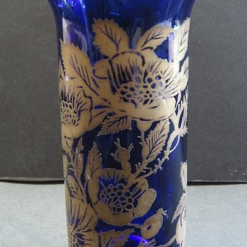 Small Cobalt Blue Glass Vase with Gold Roses Design. - Glassware