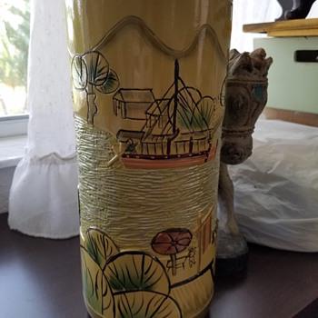 Ceramic Art Pottery Vase Asian Markings - Asian