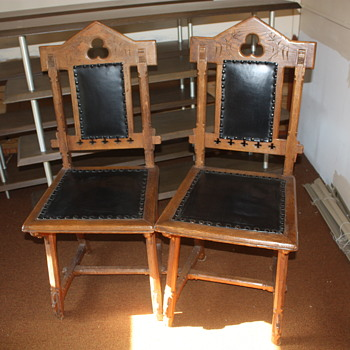 Oak dining chairs. All pegged construction.