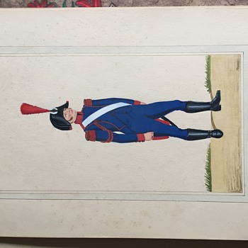 French Military Men in uniform from early 1800's, hand painted by Bader