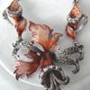 Silver enameled  flower Art Nouveau necklace with Marcacites