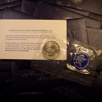 "1972-S U.S. Mint Packaged ""Blue Ike"" 40% Silver Dollars"