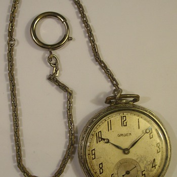 "1930 Award From Champion Spark Plugs ""Gruen"" Pocket Watch & Chain - Pocket Watches"