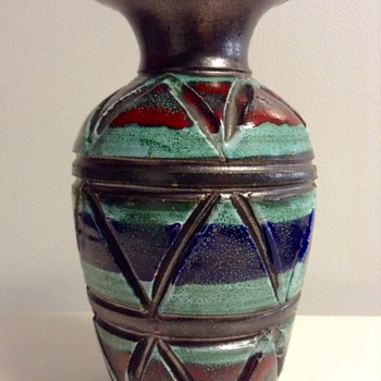 Fratelli Fanciullacci Geometric Relief Vase Italy - Pottery