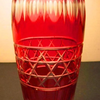 Durand Red Cut to Clear Vase c.1925 - Art Glass