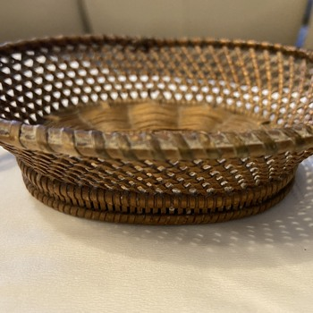 Small size basket with partial blue label on bottom  - Furniture