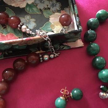CARNELIAN JADE STERLING PARURE NECKLACE BRACELET EARRINGS - Costume Jewelry