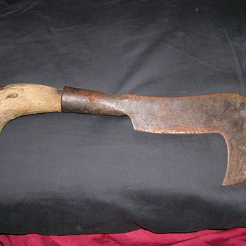 Curved Hook Blade OLD TOOL Cool w/pistol grip wood I dont know what it is. - Tools and Hardware