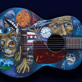 Late 1960s Hippie Painted Guitar from Austin Texas - Musical Instruments
