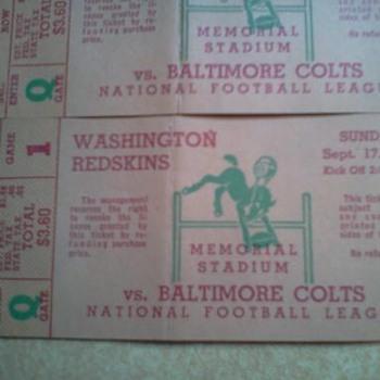 Washington Redskins Football Tickets vs Baltimore Colts  1950 - Football