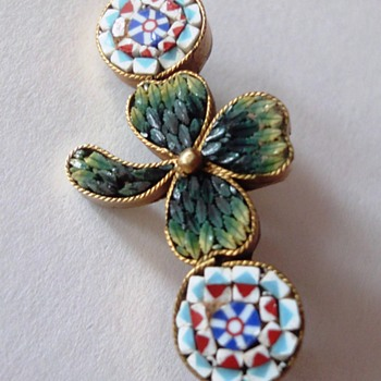 Little Micro Mosaic Shamrock Brooch - Fine Jewelry