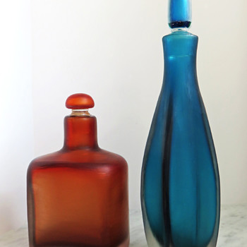 Paolo Venini Inciso Bottles c.1955 - Art Glass
