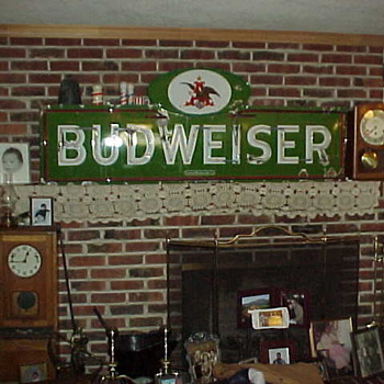 Green Porcelain Budweiser Neon Sign - Signs
