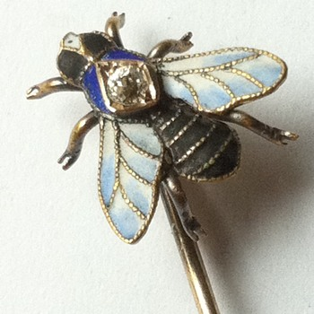 Bzzz again! Enamel fly stick pin. - Fine Jewelry