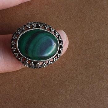 Malachite and silver ring - Fine Jewelry