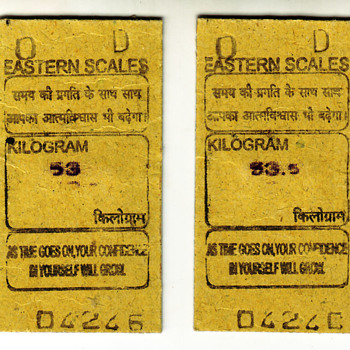 Indian Railway Platform Rs 1 & 2 Weight and Fortune Machine Ticket, Is It Rare ? - Railroadiana