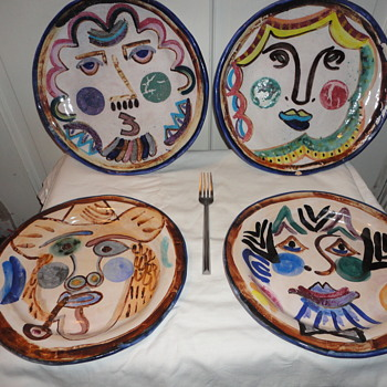 Pottery Plates Picasso Style - Pottery