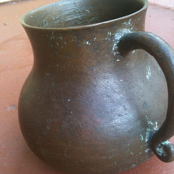 "LARGE 6""BRONZE MUG WITH SCRIPT INSIDE LIP/ R.H. EVERLASTING LIFE IN GREEK - Breweriana"