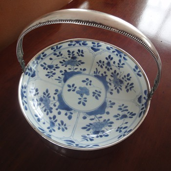 Antique blue bowl with silver handle - Pottery