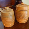 Wooden lidded jars with carved rosemaling