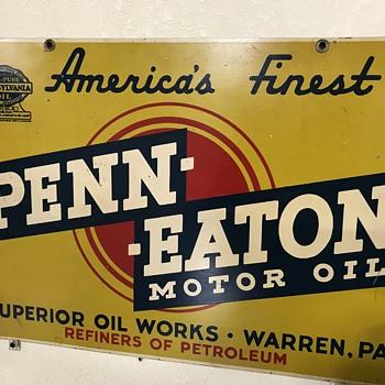 Penn-Eaton motor oil sign  - Petroliana