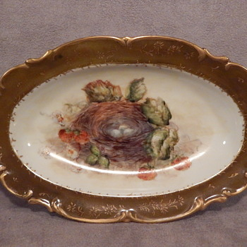 HUTSCHENREUTHER OVAL DISH / BOWL GERMANY SYLVIA 1814 GERMANY BIRDS NEST With GREEN LIP & GOLD EDGES - China and Dinnerware