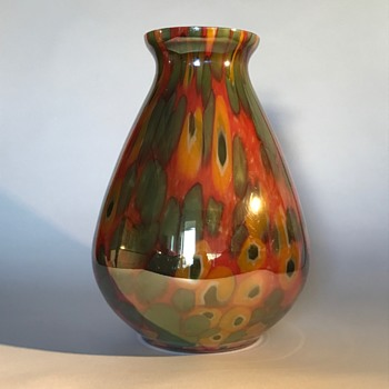 Kralik Iris Green and Orange/Yellow Millefiori - Art Glass