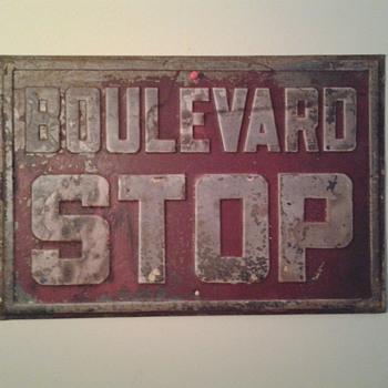 Boulevard Stop sign circa 1930s