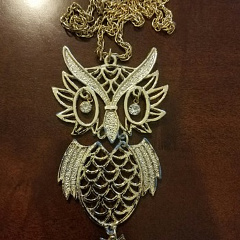 Grandmother's Costume Jewelry Owl Necklace