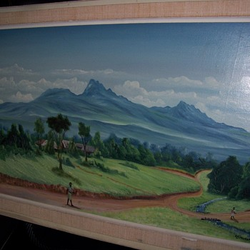 African Landscape Vintage Oil Painting