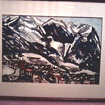 Interesting Watercolor /Signed Johanna Van Breeman /Titled  Garmisch-Partenkirchen, Germany/ Circa 1937 - Fine Art