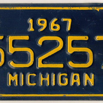 1967 - Motorcycle License Plate (Michigan) - Motorcycles
