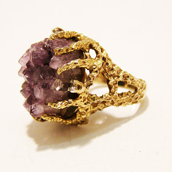 Vintage Panetta Raw Amethyst Ring - Fine Jewelry