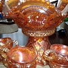 Carnival Pressed Glass Iridescent Glass Punchbowl