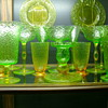 1910 - 1930 Bi-Color Vaseline Pukeberg Turkey Tracks Uranium Glass