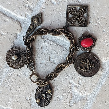 Interesting Charm Bracelet Possible Religious or Ethnic Piece  - Costume Jewelry