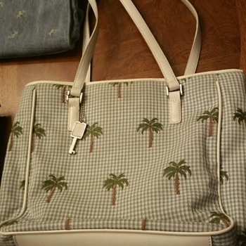 Vintage Fossil Genuine Classic 1954 Bag with Palm Trees and Key Fob - Bags