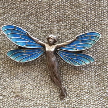 Meyle & Mayer Dragonfly Lady Fairy Enamel Brooch - Fine Jewelry