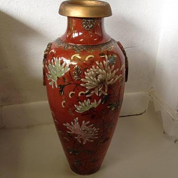 "24"" Meiji Era Japanese Satsuma Baluster Vase w/ Chrysanthemums - Pottery"