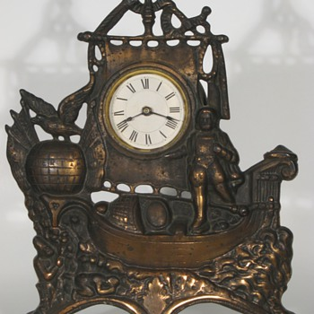 Christopher Columbus Cast Front Clock, ca. 1890 - Clocks