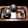 Brass and Blue Enamel Hand Painted Condiment Set / Unknown Maker / Circa 20th Century