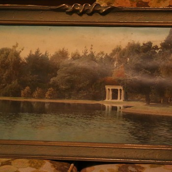 Large Hand-colored Photo of a Lakeside Garden - Photographs