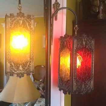 Unknown vintage stained glass tension pole lamp