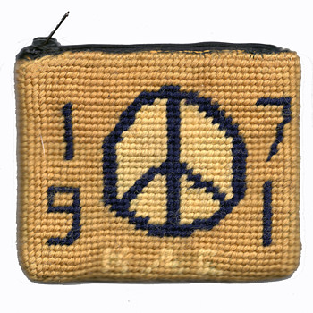 Unique 1971 Sorority Peace & Love Embroidered / Needlepoint Hippy Folk Art Purse - Rugs and Textiles